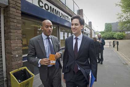 Ed Miliband: with Chuka Umunna MP