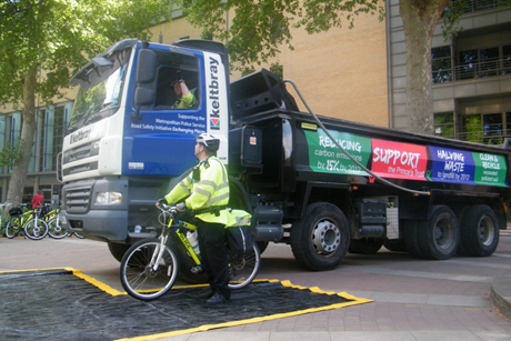 Awareness: The Met Police's cycle training includes using HGVs