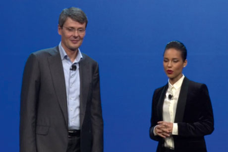 Launch: CEO Thorsten Heins and newly named creative director Alicia Keys