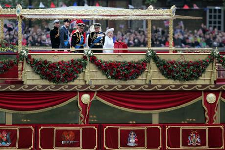 The royal family on board the barge