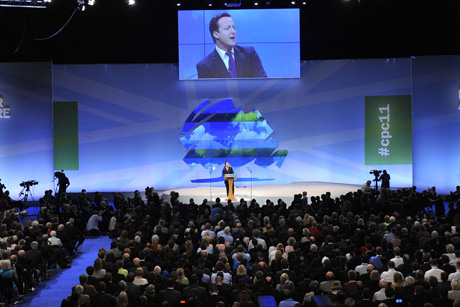 Speaker: David Cameron addresses last years Tory conference (Credit: Rex Features)