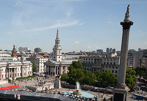 The view from the rooftop of The Trafalgar hotel