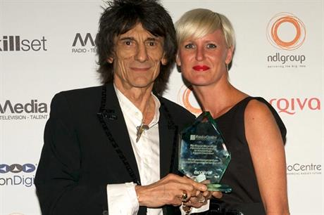 Arqiva awards: Ronnie Wood with producer Claire Neal of Somethin Else Productions