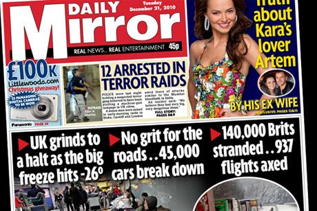 Daily Mirror: front page carries Littlewoods offer