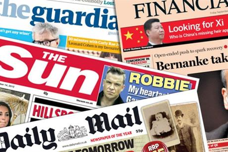 National dailies: FT, Guardian and Telegraph had slight month-on-month rises