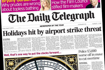 The Daily Telegraph: reports threat of airport strikes while brands continue holiday campaigns