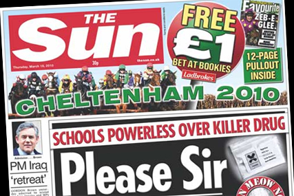 The Sun: Cheltenham festival takes front page spot