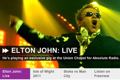 Absolute Radio: to stream Elton John gig in high-definition audio