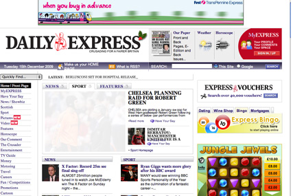 ITN: has appointed Blinkx to handle video ad sales on the Express's websites