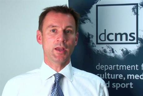 Video appeal: culture secretary Jeremy Hunt urges comms industry to help shape policy