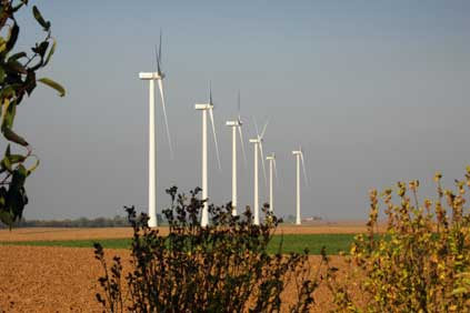 Alstom ECO 100 turbines at the Vieux Moulin wind farm in central France