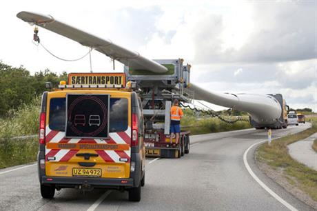 On the road… Transporting a 75-metre blade requires two escort vehicles and patience (pic:Siemens)
