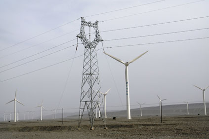 The transmission line will enable projects such as this one in Xinjiang, northern China
