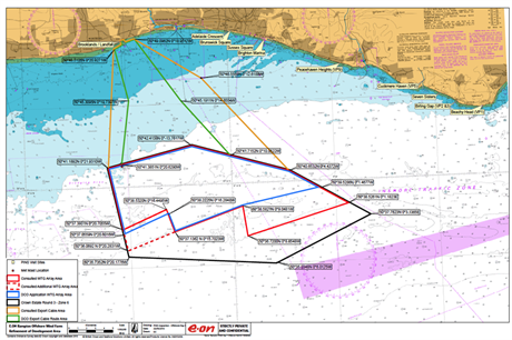 Proposed development of E.on's 700MW Rampion offshore wind site