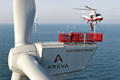 Areva M5000 turbine at the Alpha Ventus wind farm
