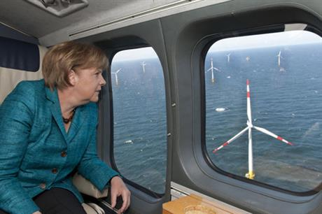 Chancellor Angela Merkel en route to the opening of the Baltic I project