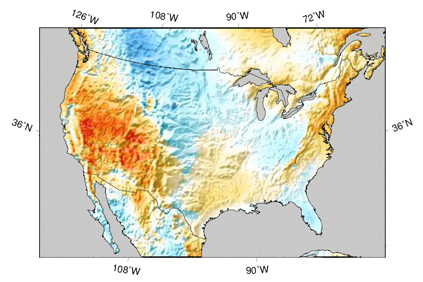 3TIER's map showing the probability of higher than normal wind speed in Q4 2010