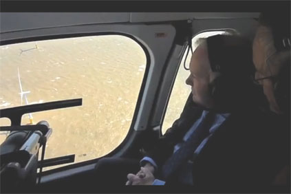 UK energy minister Charles Hendry visting the newly-opened Gunfleet Sands offshore wind farm