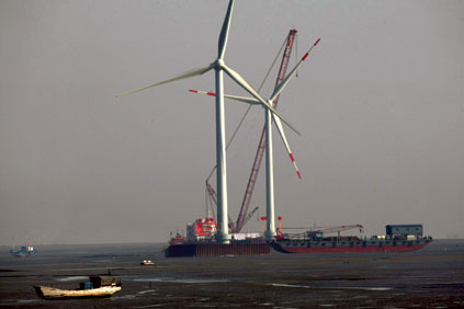 The first turbines being installed at Longyuan's offshore project at Rudong, Jiangsu-province, east China