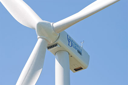 The 2MW Gamesa turbine installed on the University of Delaware's campus