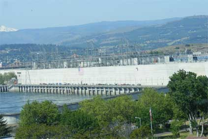 The Dalles dam on the Columbia River has been affected by extra snow-melt