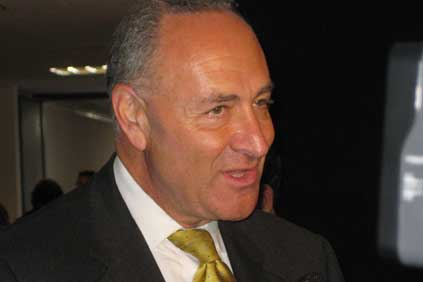 US wind industry attempts to head off calls for a stimulus moratorium by senator Chuck Schumer (pictured)