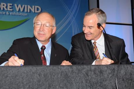 Back in 2010, interior secretary Ken Salazar and Cape Wind CEO Jim Gordon signing the project's lease
