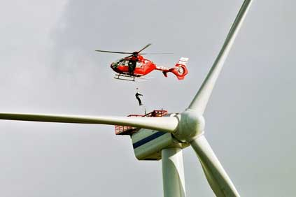 A turbine being serviced at the neighbouring Greater Gabbard Offshore Wind Farm