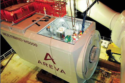 Areva's 5MW offshore turbine under construction