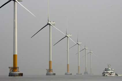 The Shanghai East Sea Bridge offshore wind farm, so far the largest pilot offshore wind farm project in the country totaling 100MW