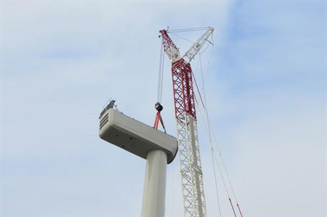 A Delta series turbine being installed