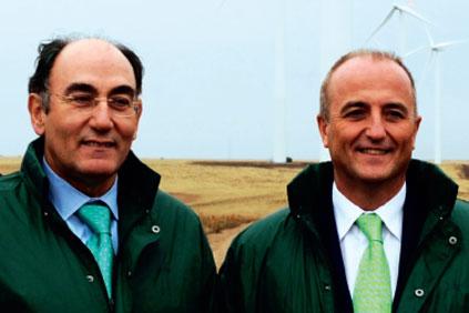 Iberdrola's Ignacio Galan (left) and minister Migeul Sebastian