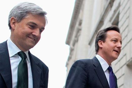 UK energy secretary Chris Huhne (left) and prime minister David Camerson