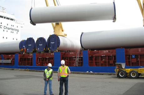 New business: Nanaimo Port started handling turbine components in June for the 99MW Cape Scott wind farm on Vancouver Island, British Columbia