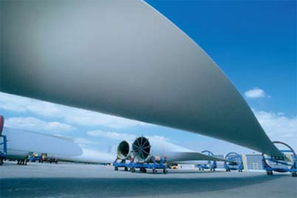 LM Wind Power builds the world's longest blade, at 61.5metres and weighing less than 19 tonnes