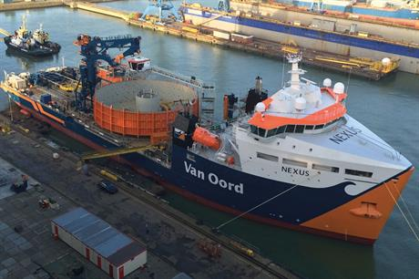 Nexus… Van Oord's cable laying vessel, with a carousel for circa 40km cable