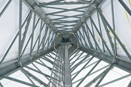 Prototype… GE's new five-legged lattice space-frame tower uses 30% less steel than a tubular tower