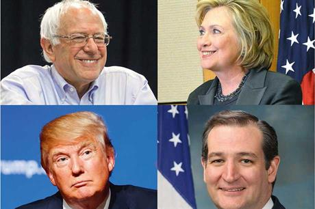 Presidential hopefuls… Bernie Saunders, Hillary Clinton, Ted Cruz and Donald Trump (clockwise from top left)