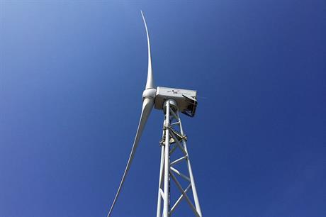The radical two-bladed downwind turbine undergoing testing