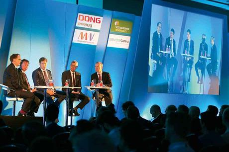 Event ambassadors: Big developers and manufacturers opened the event, joined on stage by WindEurope's Giles Dickson (right) (pics: WindEurope/Ian Howarth)
