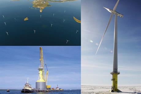 Frozen… The 2.3MW pilot turbine (right) is sited off Finland, testing the arctic weather conditions on the turbine and steel cassion foundations (left) ahead of installing the country's first commercial offshore project (top)