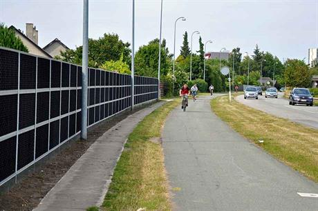 Recycled fibreglass has a high density, which improves the  acoustic performance of noise barriers (pic: Miljøskærm)