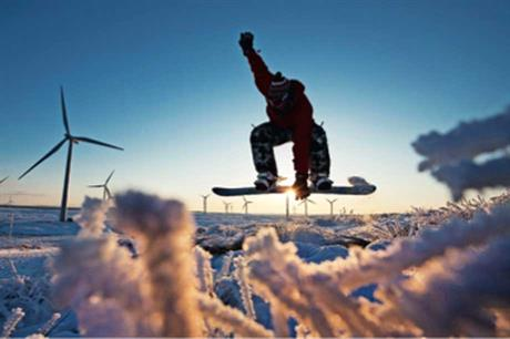 Boarding the trail. Visitors explore the land of the turbines