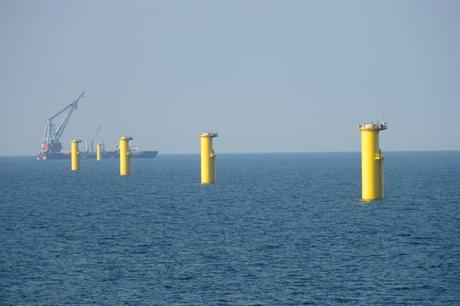 Completed foundations at Gwynt y Môr Offshore Wind Farm