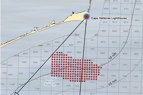A simulated windfarm off the North Carolina coast near Cape Hatteras Lighthouse