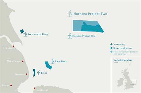 Dong's 1.8GW Project Two will be located next to the 1.2GW Project One in the Hornsea Zone