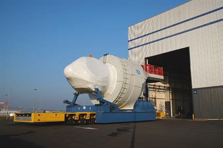 A GE Haliade nacelle leaves the factory in Saint Nazaire, France