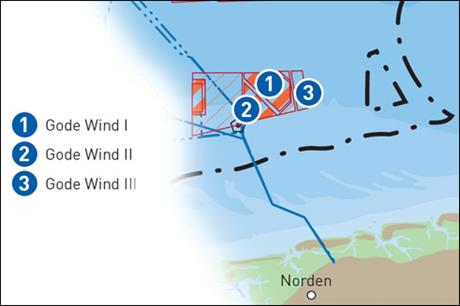 Gode Wind 3 will be located next two the newly commissioned Gode Wind 1 and 2 in the German North Sea