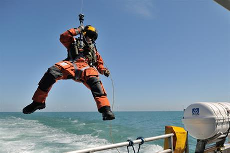A rescue worker swoops into action as part of the exercise