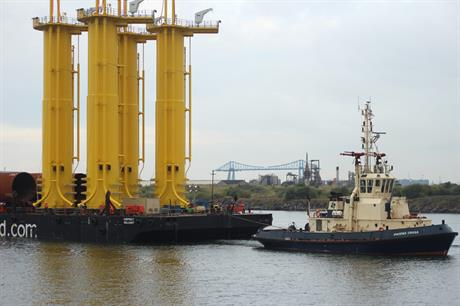 The foundations were transported by barge to the MPI Discovery jack-up vessel